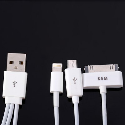 Гаджет   Practical 50cm 3 in 1 Micro USB 8 Pin and 30 Pin Charging and Data Transfer Cable Samsung Chargers