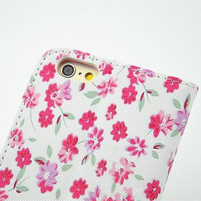 ФОТО Bright Floral Pattern Inlaid Diamond Phone Cover PU Case Skin with Stand Function for iPhone 6