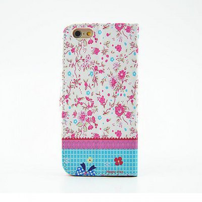 ФОТО Rose Red Floral Pattern Inlaid Diamond Phone Cover PU Case Skin with Stand Function for iPhone 6