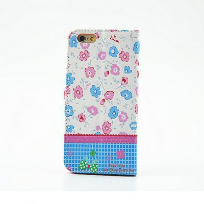 ФОТО Lovely Floral Pattern Inlaid Diamond Phone Cover PU Case Skin with Stand Function for iPhone 6
