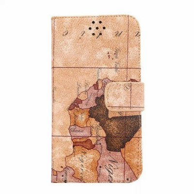 ФОТО 20PCS Stand Design PU and PC Material Map Pattern Protective Cover Case for Samsung Galaxy S6 G9200