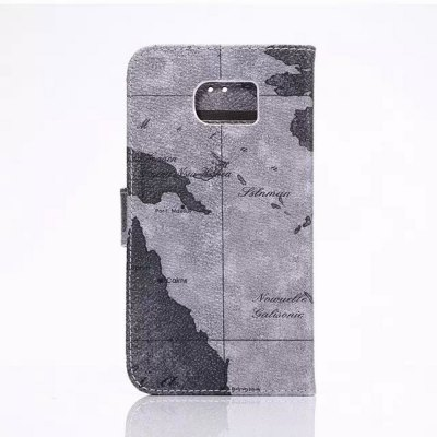 ФОТО 50PCS Stand Design PU and PC Material Map Pattern Protective Cover Case for Samsung Galaxy S6 G9200