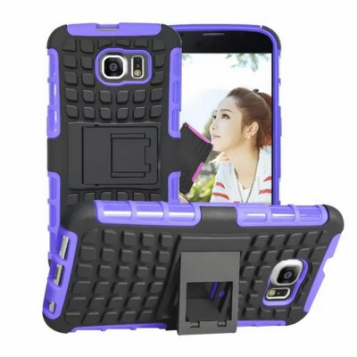 ФОТО 100PCS Stand Design TPU and PC Material Tire Pattern Protective Back Cover Case for Samsung Galaxy S6 G9200