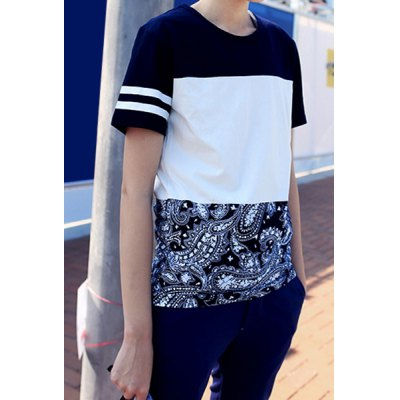 Гаджет   Ethnic Letters Print Paisley Pattern Splicing Round Neck Slimming Short Sleeves Men