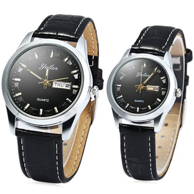 Гаджет   Yulan 2836 Couple Quartz Watch with Day Date Function Soft Leather Band Couple