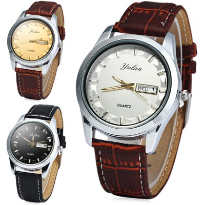 Гаджет   Yulan 2836G Soft Leather Band Male Quartz Watch with Day Date Function Men