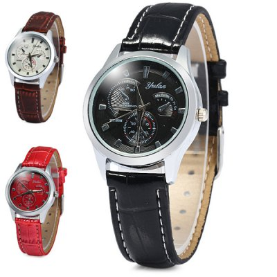 Гаджет   Yulan 2836L Soft Leather Band Quartz Watch with Decorative Sub - dial for Ladies Women