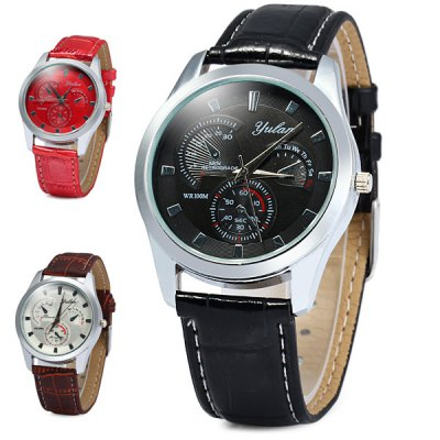 Yulan 2836G Soft Leather Band Quartz Watch with Decorative Sub - dial for Men