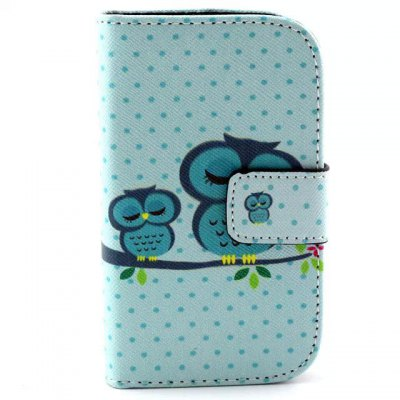 Stand Design Owls Pattern PU and PC Material Phone Cover Case for Samsung Galaxy Young 2 G130