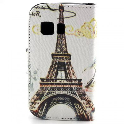ФОТО Stand Design Eiffel Tower Pattern PU and PC Material Phone Cover Case for Samsung Galaxy Young 2 G130
