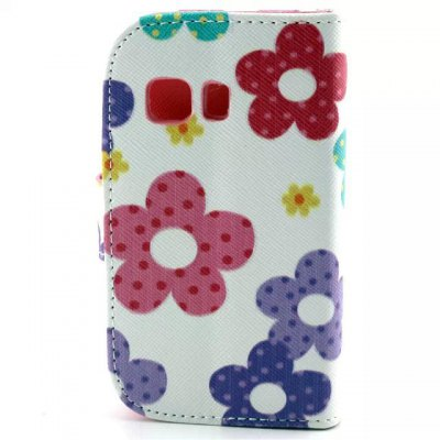 ФОТО Stand Design Flowers Pattern PU and PC Material Phone Cover Case for Samsung Galaxy Young 2 G130