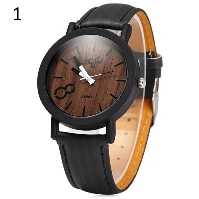 A8901 Unique Wood Grain Wristwatch Big 8 Unisex Quartz Watch
