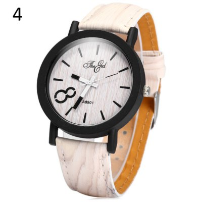 Фотография A8901 Unique Wood Grain Wristwatch Big 8 Unisex Quartz Watch