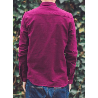 Гаджет   Fashion Turn-down Collar Slimming Embroidery Solid Color Long Sleeves Men