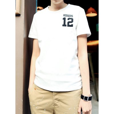 Гаджет   Trendy Slimming Solid Color Letters Print Round Neck Short Sleeves Men