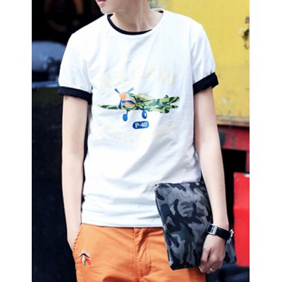 Гаджет   Slimming Trendy Round Neck Cartoon Airplane And Letters Print Short Sleeves Men