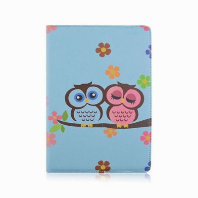 Гаджет   360 Degrees Rotation Owl in Blue Background Design Pad Cover PU Case Skin with Stand Function for iPad Air 2 iPad Cases/Covers