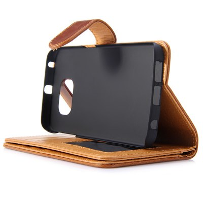 Фотография Magnetic Flip Card Holder Crazy Horse Pattern Leather Full Body Case for Samsung Galaxy S6 Edge