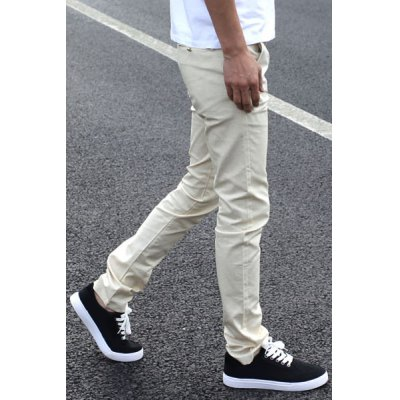 Гаджет   Casual Slimming Zipper Fly Pocket Embellished Solid Color Narrow Feet Men