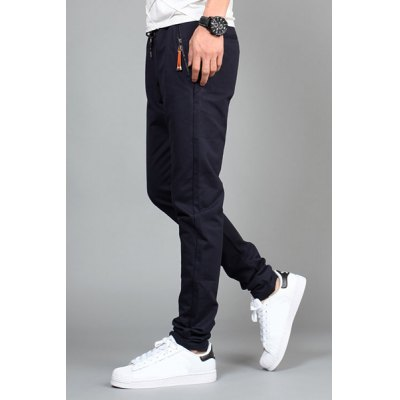 Гаджет   Casual Slimming Lace-Up Zipper Design Pocket Solid Color Narrow Feet Men