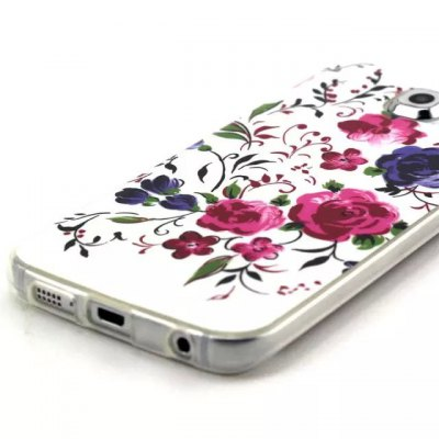 ФОТО Dual Colors Flowers Pattern TPU Material Phone Back Cover Case for Samsung Galaxy S6 G9200