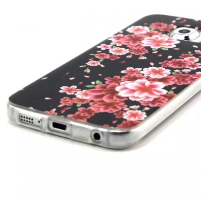 Red Flowers Pattern TPU Material Phone Back Cover Case for Samsung Galaxy S6 G9200