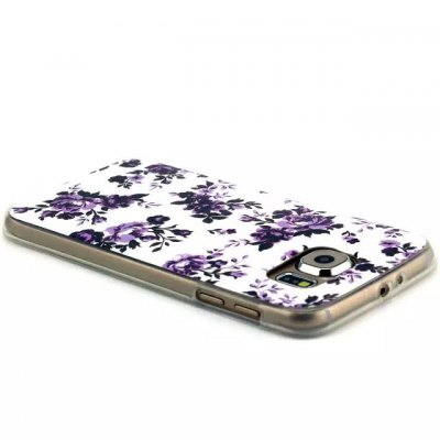 ФОТО Purple Flowers Pattern TPU Material Phone Back Cover Case for Samsung Galaxy S6 Edge