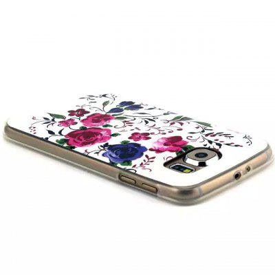 ФОТО Dual Colors Flowers Pattern TPU Material Phone Back Cover Case for Samsung Galaxy S6 Edge