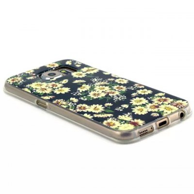 ФОТО Yellow Flowers Pattern TPU Material Phone Back Cover Case for Samsung Galaxy S6 Edge