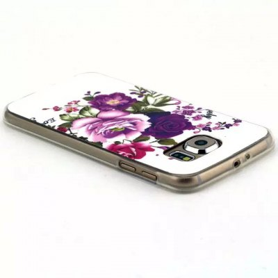 ФОТО Flowers Pattern TPU Material Phone Back Cover Case for Samsung Galaxy S6 Edge