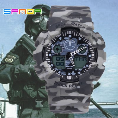 ФОТО Sanda 199 Dual Movt LED Camouflage Military Watch Water Resistance for Outdoor Sports