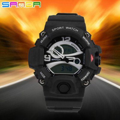 Гаджет   Sanda 290B Dual Movt LED Military Watch Water Resistant for Outdoor Sports Sports Watches