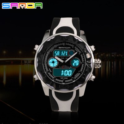 Гаджет   Sanda 702 Contrast Colors LED Watch Militray Dual Movt Outdoor Sports Wristwatch Sports Watches