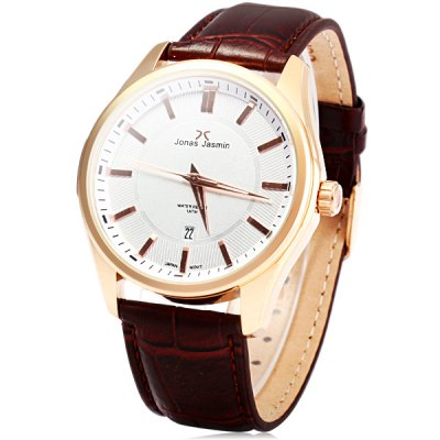 Jonas Jasmin 2024M Leather Strap Men Japan Quartz Watch