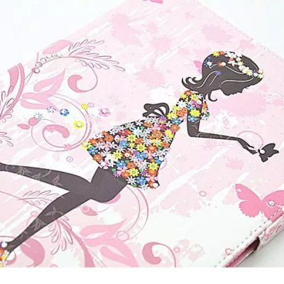 Гаджет   Stand Design Floral Girl Pattern PU Leather Phone Cover Case for Samsung Galaxy Tab 4 T530 Samsung Cases/Covers