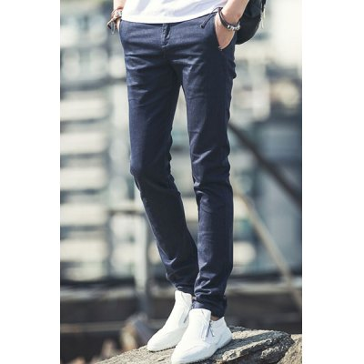 Гаджет   Casual Zipper Fly Slimming Solid Color Pocket Embellished Narrow Feet Men
