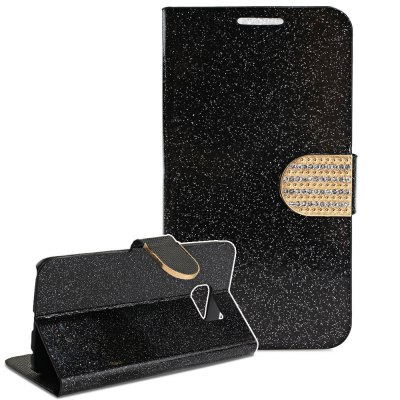 ФОТО PU Leather Protective Phone Cover Case Luxury Bling aGlitter Diamonds Decor for Samsung Galaxy S6 G9200