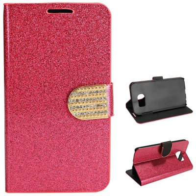 PU Leather Protective Phone Cover Case Luxury Bling aGlitter Diamonds Decor for Samsung Galaxy S6 G9200