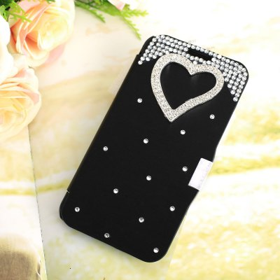 Luxury Bling Heart Rhinestone PU Leather Protective Cover Case for Samsung Galaxy S6 G9200