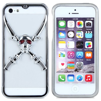 Victory 3D Skull Metal Phone Bumper Frame Case with Safeguard Films for Apple iPhone 5S 5