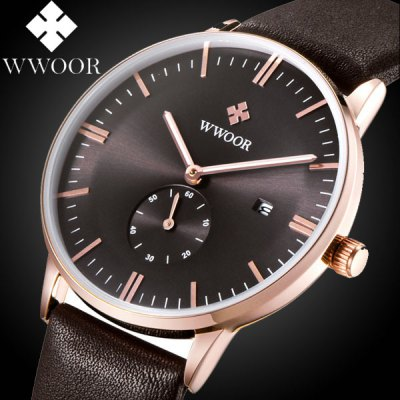 WWOOR 8808 Simple Dial Leather Band Quartz Watch for Men