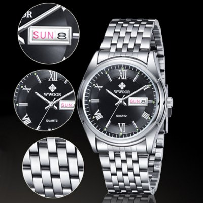 WWOOR 8802 Luminous Steel Band Quartz Watch for MenMens Watches<br>WWOOR 8802 Luminous Steel Band Quartz Watch for Men<br><br>Brand: WWOOR<br>Watches categories: Male table<br>Watch style: Fashion<br>Available color: White, Black<br>Movement type: Quartz watch<br>Shape of the dial: Circular<br>Display type: Analog<br>Case material: Stainless steel<br>Band material: Stainless steel<br>Special features: Date, Week, Luminous<br>Water resistance: 30 meters<br>The dial thickness: 1.1 cm / 0.43 inches<br>The dial diameter: 4.0 cm / 1.57 inches<br>The band width: 2.2 cm / 0.87 inches<br>Product weight: 0.092 kg<br>Package weight: 0.162 kg<br>Product size (L x W x H): 26 x 4 x 1.1 cm / 10.22 x 1.57 x 0.43 inches<br>Package size (L x W x H): 27 x 5 x 2.1 cm / 10.61 x 1.97 x 0.83 inches<br>Package contents: 1 x Watch