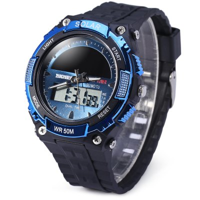 Skmei 1049 Solar Power Analog Digital LED Watch Military Army Sports Watch 50M Water Resistant Date Week