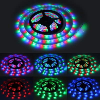 5 Metres 24W 300 SMD 3528 LEDs RGB Ribbon Light IP65 Water Resistant DIY Strip Lamp Kit  -  12V 5A