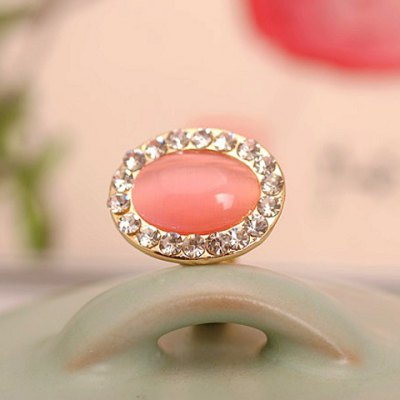 Stylish Faux Opal and Rhinestone Decorated Oval Shape Ring For Women