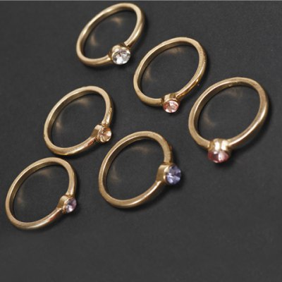 6PCS Simple Beads Decorated Rings For Women