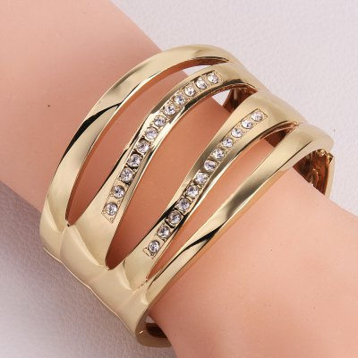 Rhinestone and Openwork Wave Shape Design Alloy Bracelet For Women
