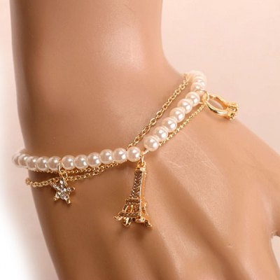 Sweet Faux Pearl Star Tower Pendant Bracelet For WomenBracelets &amp; Bangles<br>Sweet Faux Pearl Star Tower Pendant Bracelet For Women<br><br>Item Type: Charm Bracelet<br>Gender: For Women<br>Chain Type: Link Chain<br>Material: Pearl<br>Style: Trendy<br>Shape/Pattern: Star<br>Length: 21CM<br>Weight: 0.070KG<br>Package Contents: 1 x Bracelet