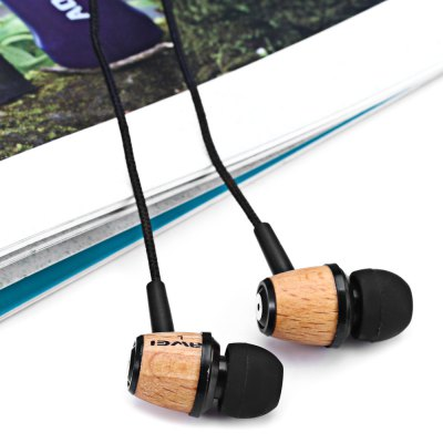 Фотография Awei ES  -  Q9 Wood Design 1.2m Canvas Cable Noise Isolation In - ear Earphone for Smartphone Tablet PC