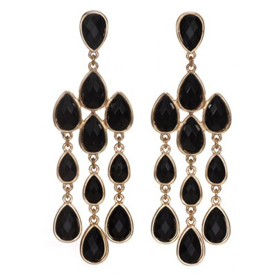 Pair of Stylish Faux Gem Decorated Multi-Layered Water Drop Shape Earrings For Women